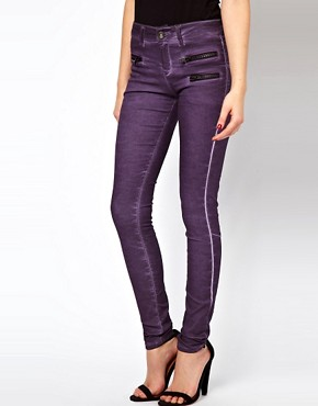 Image 1 ofASOS Skinny Jean in purple with Zip Detail