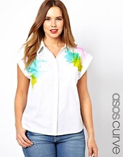 ASOS CURVE Sleeveless Shirt With Brushstroke Print