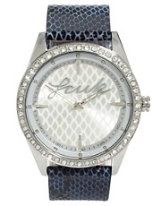 French Connection Leather Faux Snake Strap Watch