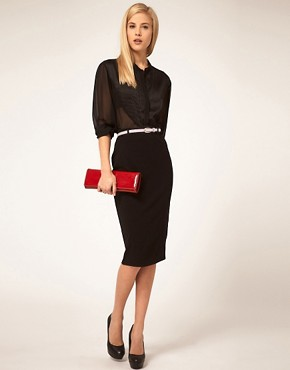 Image 1 ofASOS Jersey Pencil Skirt with Contrast Belt