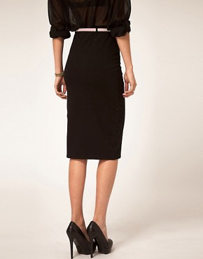 Image 2 ofASOS Jersey Pencil Skirt with Contrast Belt