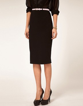 Image 4 ofASOS Jersey Pencil Skirt with Contrast Belt