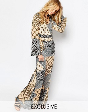 Glamorous Printed Maxi Dress with Lace Up