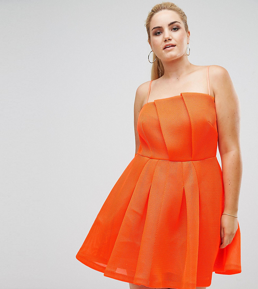 ASOS CURVE Neon Bonded Mesh Fan Front Mini Dress