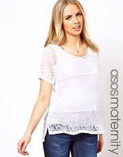 ASOS Maternity Exclusive T-Shirt in Lace Stripe