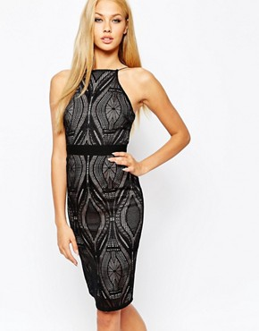 Lipsy High Neck Bodycon Dress In Geo Lace