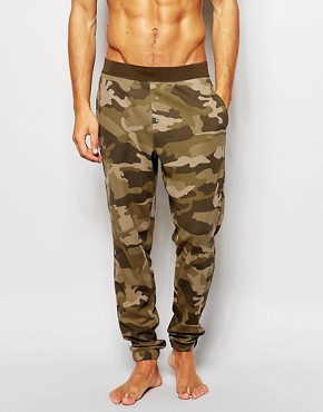 ASOS Loungewear Bottoms In Waffle Fabric With Camo Print