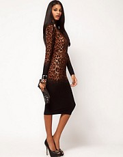 ASOS Bodycon Dress In Dip Dye Leopard With Polo Neck