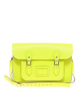 Image 1 ofThe Cambridge Satchel Company Leather Fluro Satchel 14&quot;