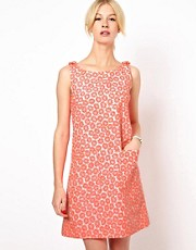 Boutique by Jaeger Bow Shoulder Shift Dress in Bright Daisy Print