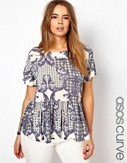 ASOS CURVE Peplum Top In Baroque Print