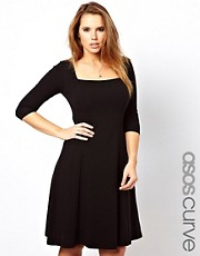 ASOS CURVE Exclusive Jersey Midi Dress with 3/4 Sleeves