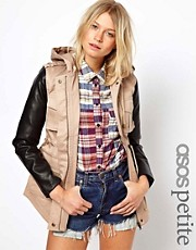 ASOS PETITE Exclusive Parka With Faux Leather Sleeves