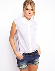 ASOS Sleeveless Blouse With Double Collar