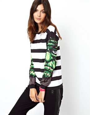 Image 1 of ASOS Sweatshirt in Stripe with Monster Sleeves