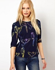 Sugarhill Boutique Blouse in Parrot Print