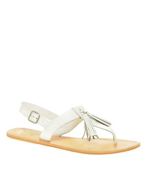 Image 1 ofASOS FLORRIE Leather Flat Sandals with Tassel