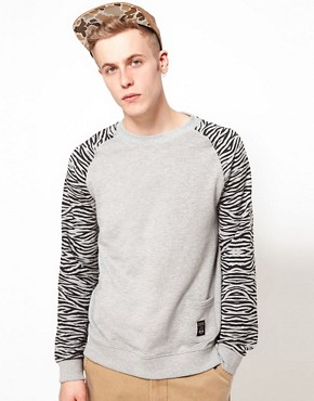 Image 1 ofTrainerspotter Sweatshirt Crew Neck Tiger Sleeves