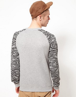 Image 2 ofTrainerspotter Sweatshirt Crew Neck Tiger Sleeves