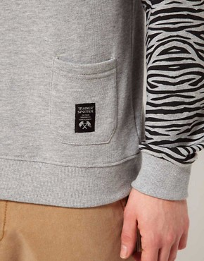 Image 3 ofTrainerspotter Sweatshirt Crew Neck Tiger Sleeves