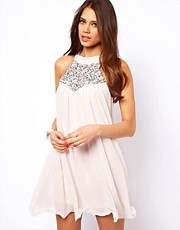 Lipsy Babydoll Dress with Sequin Neckline