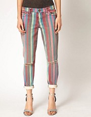 Current/Elliot Striped Skinny Jeans