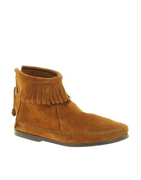 Image 1 ofMinnetonka Back Zipper Brown Ankle Boots