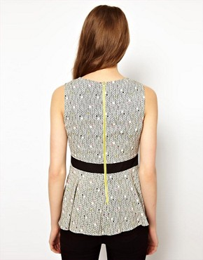 Image 2 ofA Wear Mini Geo Print Peplum Top