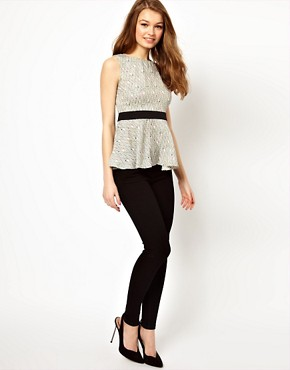 Image 4 ofA Wear Mini Geo Print Peplum Top