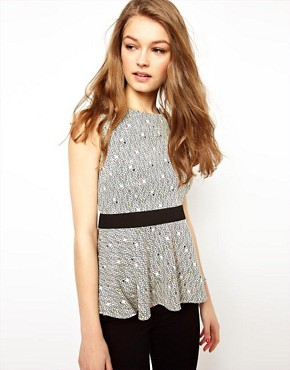 Image 1 ofA Wear Mini Geo Print Peplum Top