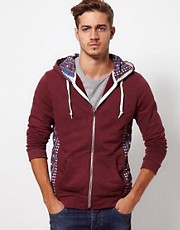 ASOS Hoodie With Printed Panels And Hood Lining