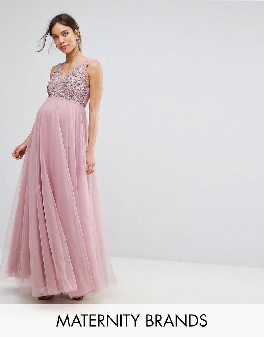 Little Mistress Maternity Crochet Bodice Maxi Dress - Pink