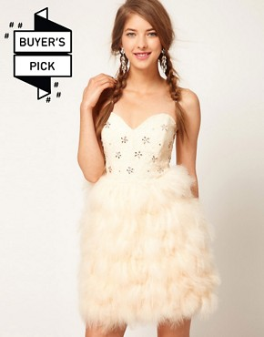 Image 1 ofASOS Feather Bandeau Dress with Jewelled Bodice