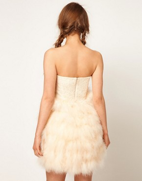 Image 2 ofASOS Feather Bandeau Dress with Jewelled Bodice
