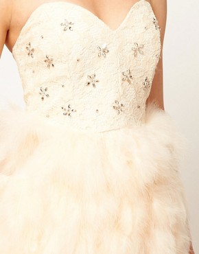 Image 3 ofASOS Feather Bandeau Dress with Jewelled Bodice