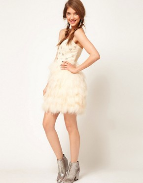 Image 4 ofASOS Feather Bandeau Dress with Jewelled Bodice