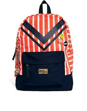 Paul&#39;s Boutique Libby Striped Backpack With Badges