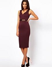 ASOS Pencil Dress With Gold Belt