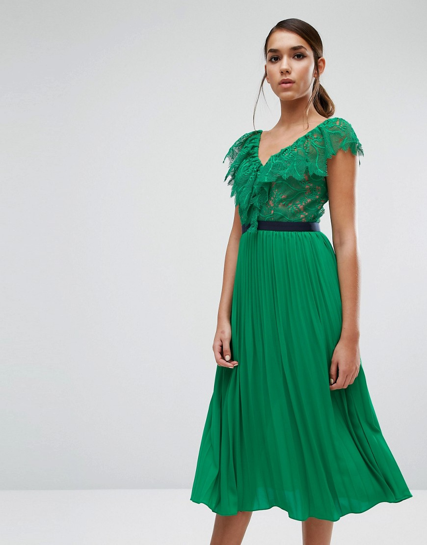 Three Floor Midi Dress with Pleated Skirt and Frill Detail