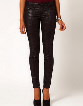 Image 1 ofRiver Island Olive Skinny Jean In Black Denim