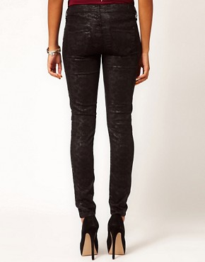 Image 2 ofRiver Island Olive Skinny Jean In Black Denim