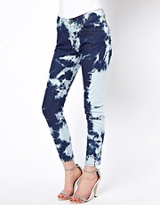 Eleven Paris Tie Dye Jeans in High Waist Zipped Hem Fit