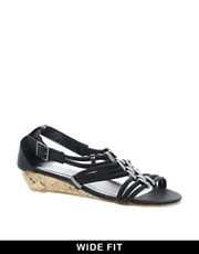 New Look Gella Metal Trim Snake Wedge Sandals
