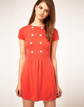 Image 1 ofASOS Knitted Dress With Button Detail
