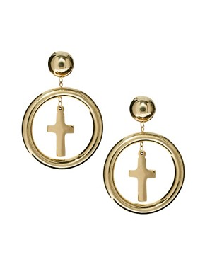 Image 1 ofASOS Cross Charm Doorknocker Earrings