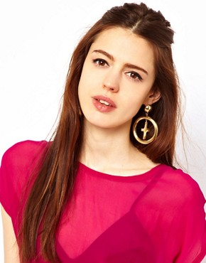 Image 2 ofASOS Cross Charm Doorknocker Earrings