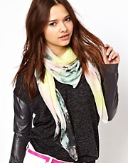 Pieces Marble Faded Print Scarf