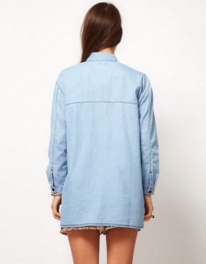 Image 2 ofASOS Denim Boyfriend Shirt with Shadow Pocket