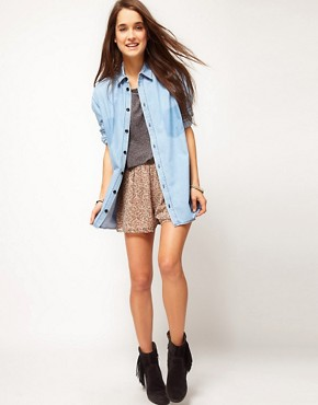 Image 4 ofASOS Denim Boyfriend Shirt with Shadow Pocket