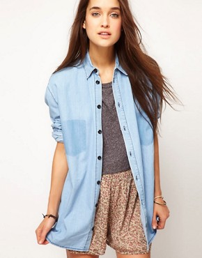 Image 1 ofASOS Denim Boyfriend Shirt with Shadow Pocket
